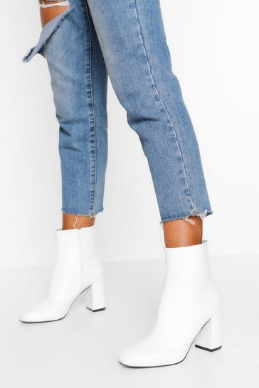 White Block Heel Pointed Toe Shoe Boot