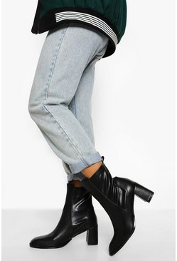 Black Block Heel Stretch Sock Boot