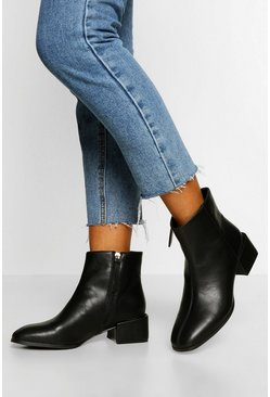 Black Low Block Heel Zip Side Shoe Boot