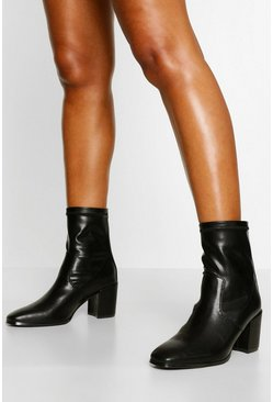 Black Block Heel Sock Boot