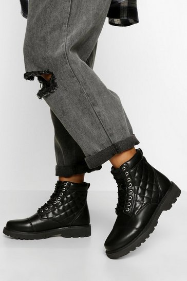 Black Quilted Chunky Hiker Boot