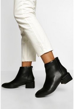 Black Low Block Heel Shoe Boot