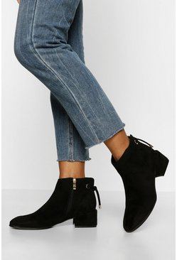 Black Tie Back Low Block Heel Shoe Boot