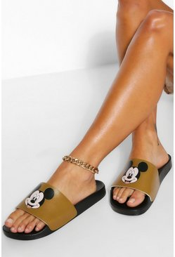 Natural beige Disney X Boohoo Mickey Pool Sliders