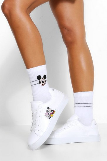 White Disney X Boohoo Lace Up Flat Trainers