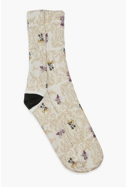 Natural beige Disney X Boohoo Chain Print Socks