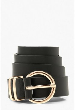 Black Metal Detail Ring Buckle Belt