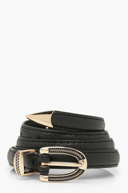 Sale Accessories Textured Buckle Detail Belt With Metal Trim