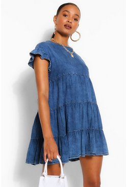 Mid blue Chambray Ruffle Smock Dress