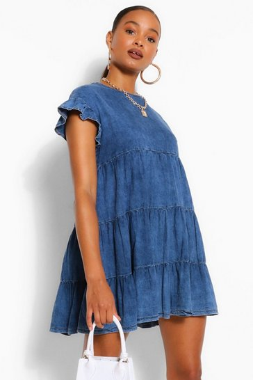 Mid blue blue Chambray Ruffle Smock Dress