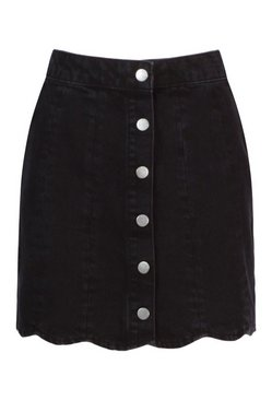 Black Denim Scallop Hem Mini Skirt