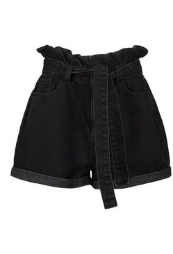 Black Denim Paperbag Belted Short