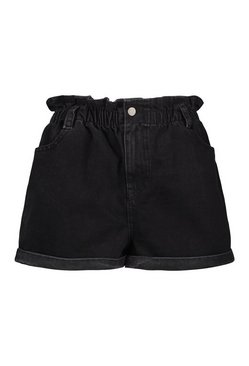 Black Denim Gathered Waist Roll Hem Short
