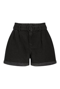 Black Denim O Ring Belted Short
