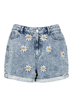 Mid blue Denim Daisy Mom Short