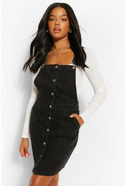 Black Denim Button Down Pinafore Dress