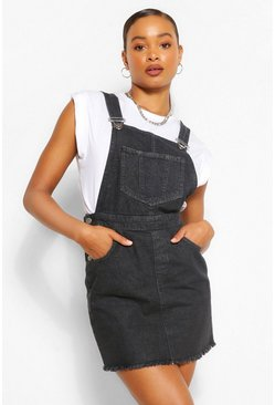 Black Denim Raw Hem Pinafore Dress