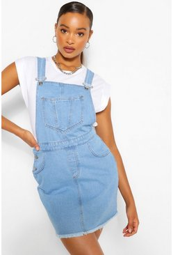 Mid blue blue Denim Raw Hem Pinafore Dress