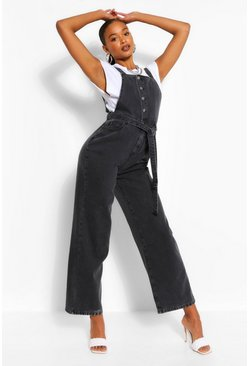 Black Denim Belted Dungaree