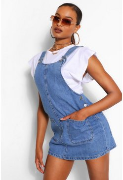 Mid blue blue Denim Pinafore Dress