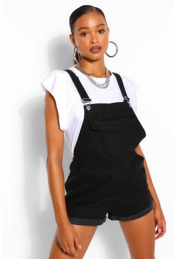 Black Denim Roll Up Hem Short Dungaree