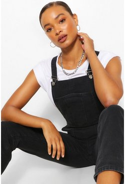 Black Denim Roll Up Hem Dungaree