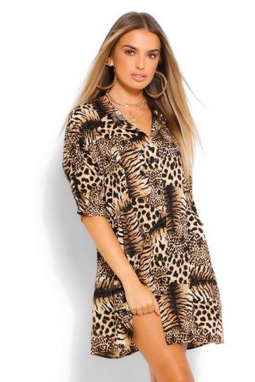Brown Animal Print Button Through 3/4 Smock Dress