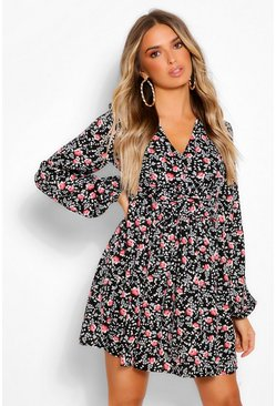 Black Ruched Waist Floral Tea Dress