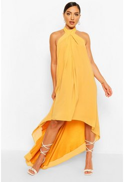 Mustard Halter Neck High Low Maxi Dress