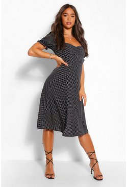 Black PolkaDot Rouche Button Midi Skater Dress