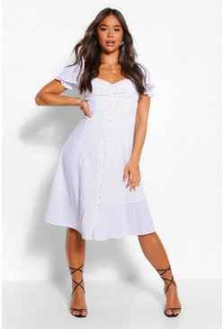 White PolkaDot Rouche Button Midi Skater Dress