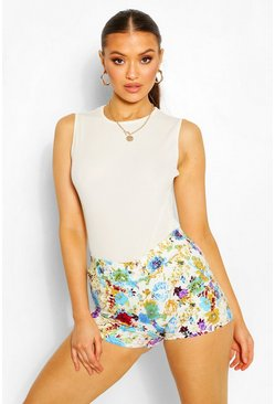 Blue Floral Stretch Woven Shorts