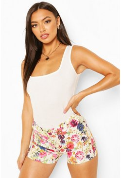 Pink Floral Stretch Woven Shorts