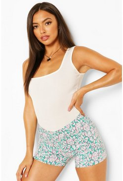 Teal green Floral Stretch Woven Shorts