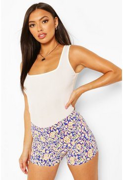 Yellow Floral Stretch Woven Shorts