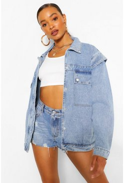 Mid blue blue Folded Shoulder Detail Denim Jacket