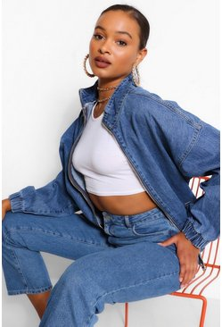 Mid blue blue Denim Oversized Bomber Jacket