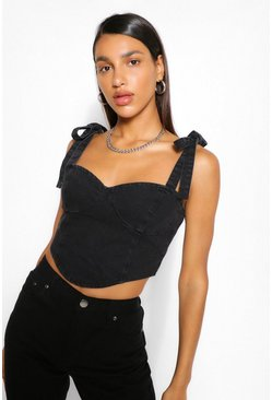 Black Denim Tie Shoulder Bodice Crop Top