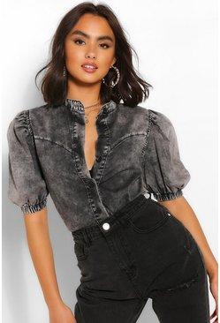 Grey Puff Short Sleeve Denim Blouse