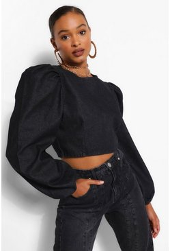 Black Denim Puff Sleeve Crop Top
