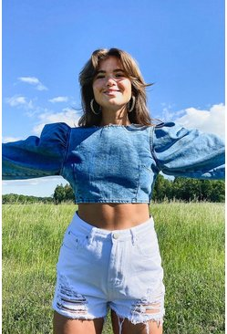 Light blue blue Denim Puff Sleeve Crop Top