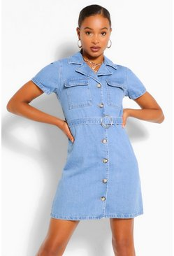Mid blue blue Belted Denim Dress