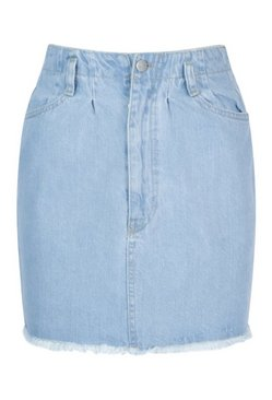 Light blue Denim Paperbag Raw Hem Denim Mini Skirt