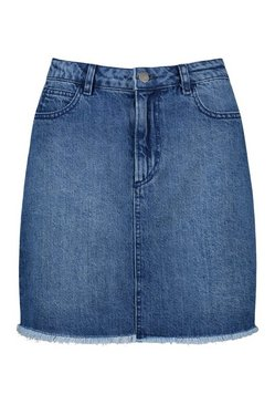Mid blue Raw Hem Denim Mini Skirt