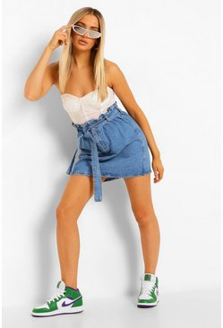 Mid blue Denim Paperbag Belted Denim Skirt