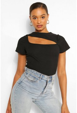 Black RIBBED ASYMMETRIC CUT OUT TOP