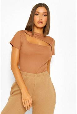 Camel beige RIBBED ASYMMETRIC CUT OUT TOP