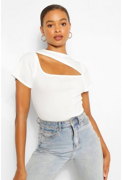 Ivory white RIBBED ASYMMETRIC CUT OUT TOP