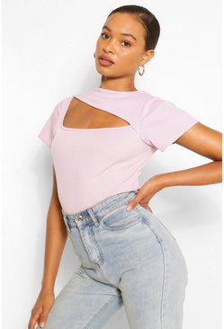 Lilac purple RIBBED ASYMMETRIC CUT OUT TOP