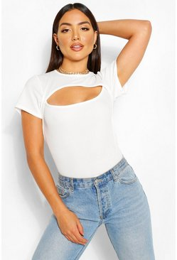 White RIBBED CUT OUT CAPPED SLEEVE TOP